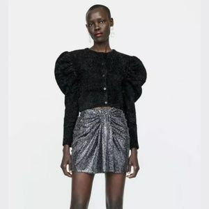 Zara Bow Twist Shiny Sequin Holiday Mini Skirt